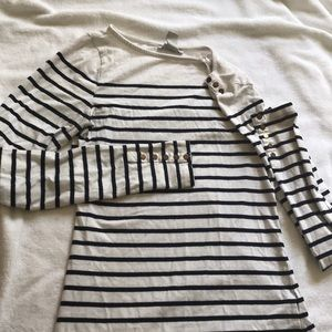 white with navy striped longsleeved T-shirt